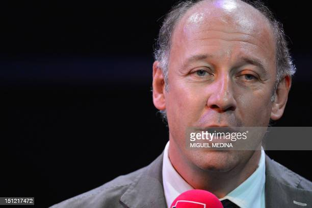 France Musique radio station's director Olivier MorelMaroger delivers a speech during a press conference announcing the 20122013 programs of French...