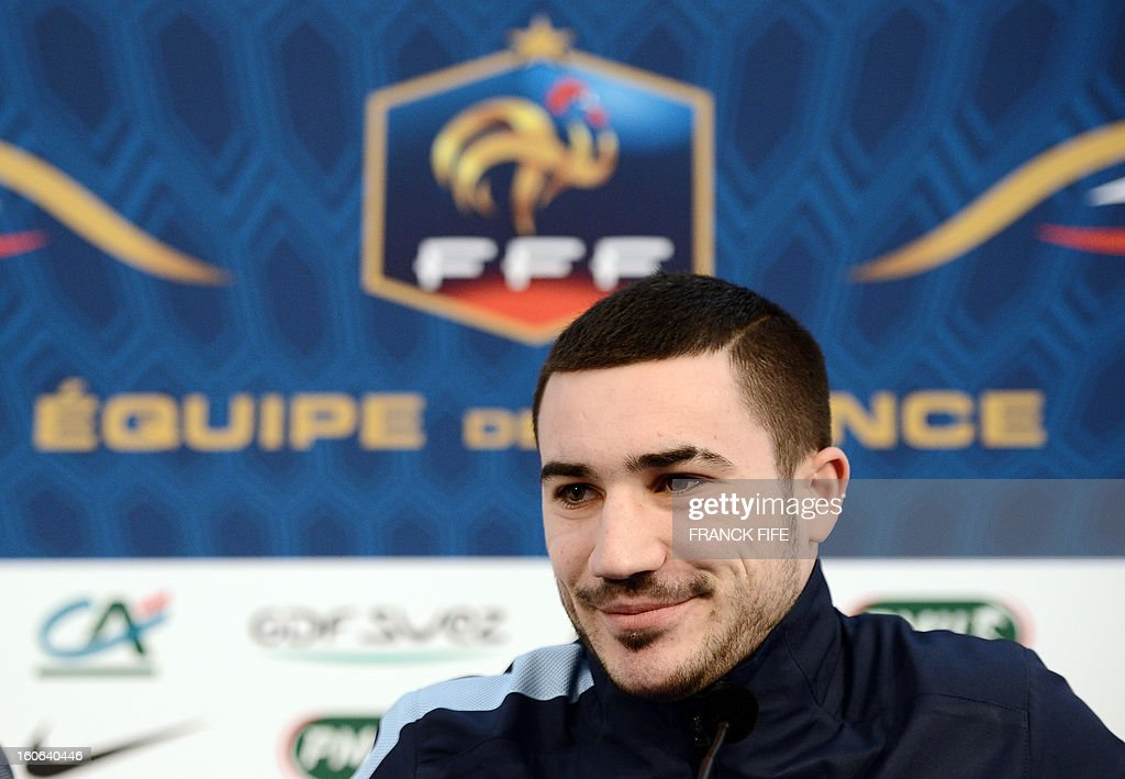 France national football team forward Romain Alessandrini speaks at a press conference on February 4, 2013 in Clairefontaine-en-Yvelines, outside Paris, two days before a friendly football match against Germany.