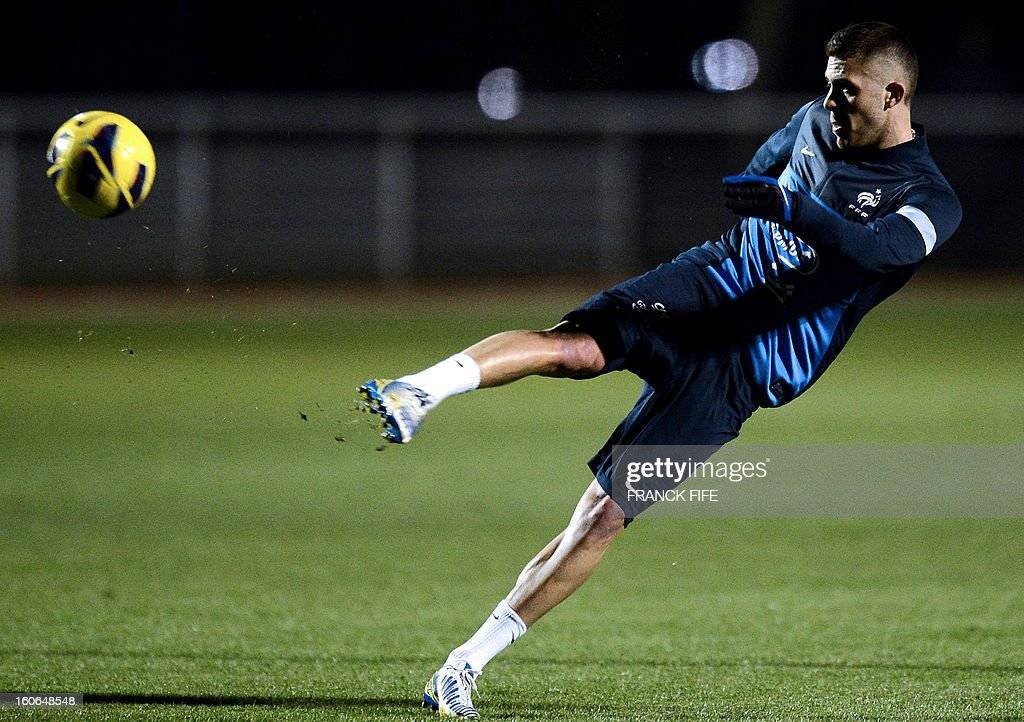 France national football team's forward Jeremy Menez kicks the ball during a training session, on February 4, 2013 in in Clairefontaine-en-Yvelines, outside Paris, two days ahead of the friendly football match against Germany.