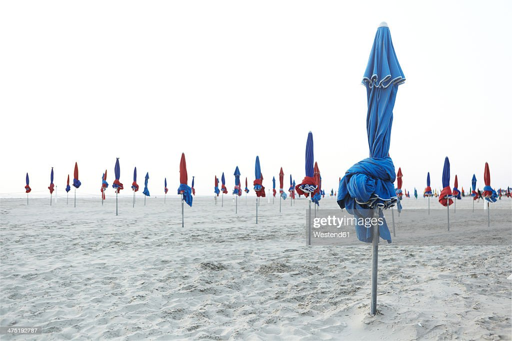 France, Normandy, Deauville, Sunshades on beach