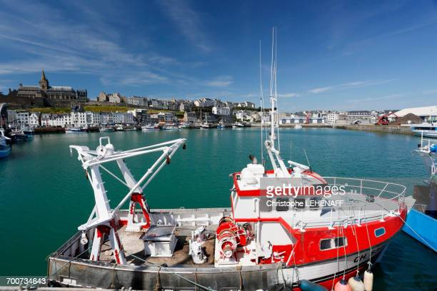 France, Normandy. Manche. Granville. The fishing port. Trawler in the foreground