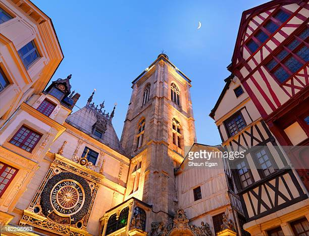 France, Normandy, Rouen, Le Gros Horloge at dusk