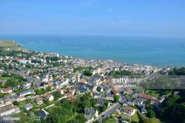 France, Normandy, view of Arromanches, general view, remains of the artificial harbour of WW II landing in the background, aerial view
