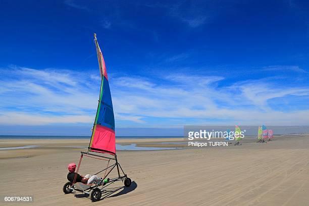 France, North Coast, Berck sur Mer, land sailing