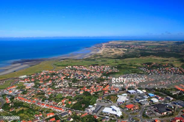 France, Northern France, Pas de Calais. Wimereux. Le Bon Air and Pointe aux Oies. Background: dunes of Slack and Ambleteuse.