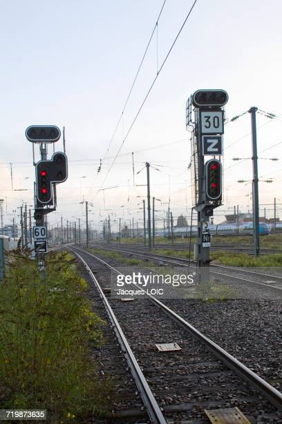 France, North-Western France, Nantes, SNCF railway station, tracks and red traffic lights