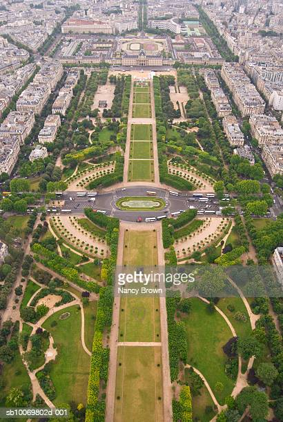 France, Paris, aeral view at Field of Mars (Champs de Mars)