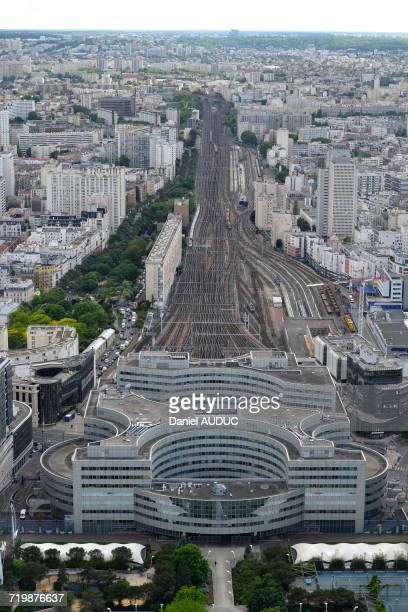 France, Paris, aerial view of the railroad tracks of the Montparnasse station, perspective effect