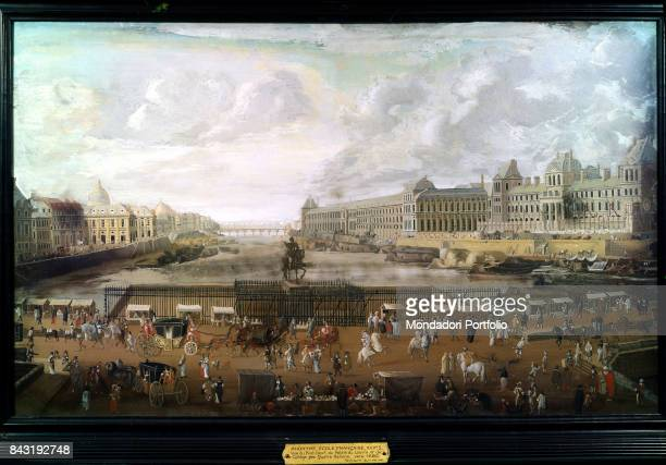 France Paris Carnavalet museum Whole artwork view The Pont neuf crossing the Seine with the statue of Henry IV in the middle the Louvre and the...