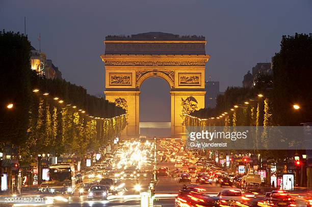 France, Paris, Champs-Elysees, Arc de Triomphe, illuminated, dusk
