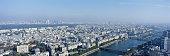 France, Paris, cityscape and River Seine, aerial view
