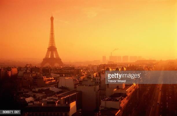 France, Paris, cityscape at sunset (Digital Enhancement)