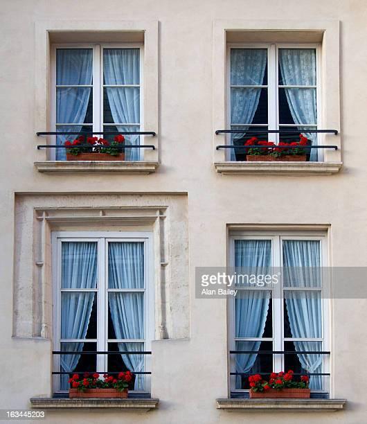 France, Paris, Detail of apartment building