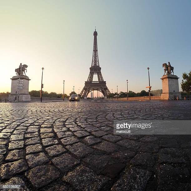 France, Paris, Eiffel Tower at dawn