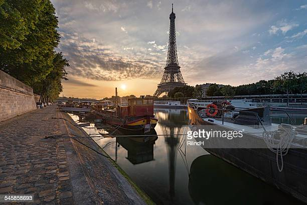 France, Paris, Eiffel Tower at sunset