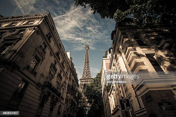 France, Paris, Eiffel Tower seen from street