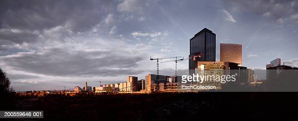 France, Paris, financial district skyline at dawn