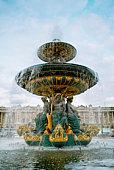 'France, Paris, fountain at Place de la Concorde, low angle view'
