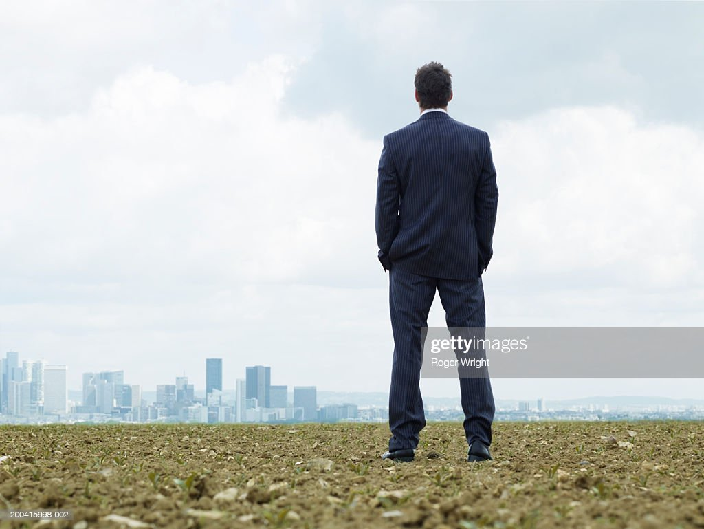 France, Paris, La Defense, businessman looking at cityscape, rear view : Stock Photo