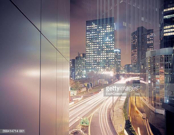France, Paris, La Defense, office buildings, night (long exposure)