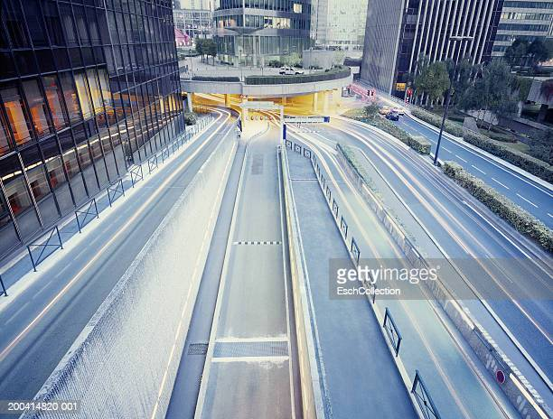 France, Paris, La Defense. traffic on roads (long exposure)