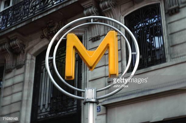 France, Paris, Metro sign at subway station
