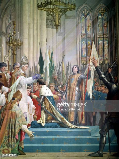 France Paris Pantheon Whole artwork view French heroin Joan of Arc watching the coronation of the King Charles VII at the Cathedral of Reims on 17th...