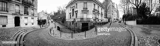 France, Paris, Place Dalida, Panoramic shot of street curve