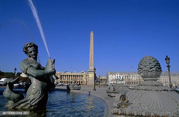 France, Paris, Place de la Concorde, Fontaine des Mers and Obelisk of Luxor