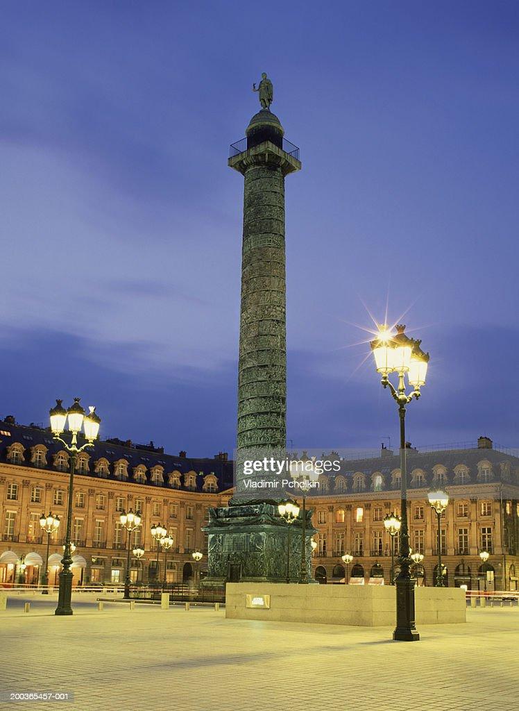 France, Paris, Place Vendome, night
