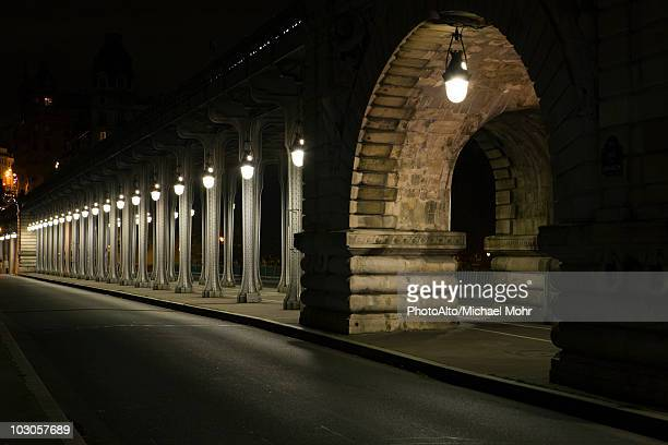 France, Paris, Pont Bir Hakeim bridge at night