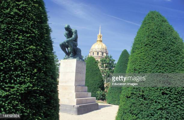 France Paris Rodin Museum The Thinker With The Invalides' Dome Church Behind