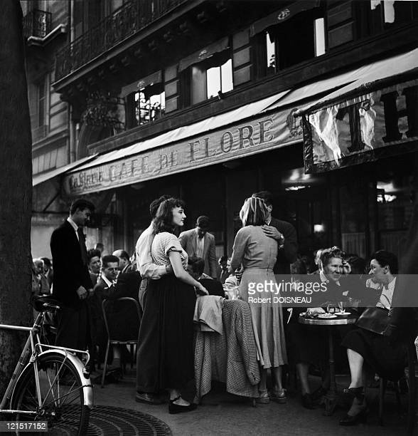 France Paris Saint Germain Des Pres Terrace Of Cafe De Flore In The Fifties