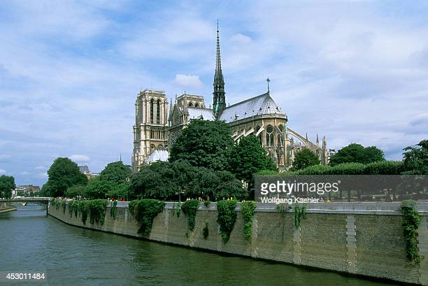 France Paris Seine River View Of Notredame Cathedral