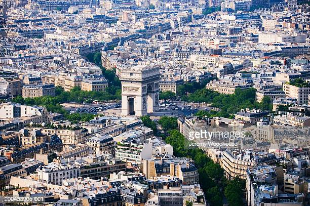 France, Paris, view of Arc de Triomphe from Eiffel Tower