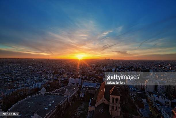 France, Paris, View of city at sunset