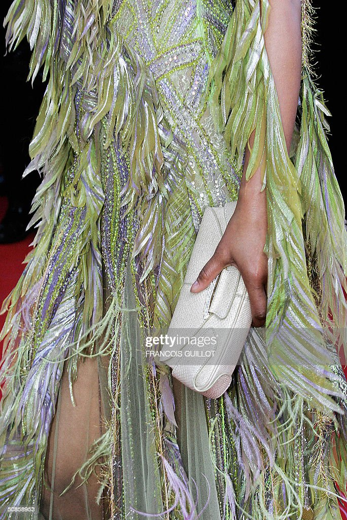Picture the detail of a dress worn by an unidentified guest as she arrives for the official screening of the film 'The Motorcycle Diaries', 19 May 2004, at the Cannes Film Festival in the French Riviera town. The film, which is in competition for the festival's coveted top prize, the Palme d'Or, tells the tale of Ernesto 'Che' Guevara and his Cuban traveling companion Alberto Granado's journey across Latin America fifty years ago.