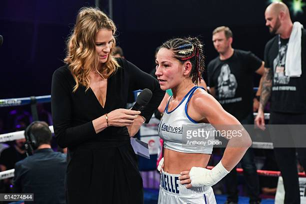 France Pierron and Gaelle Amand of France during their featherweights bout for WBA and WBC title world championship on October 8 2016 in...