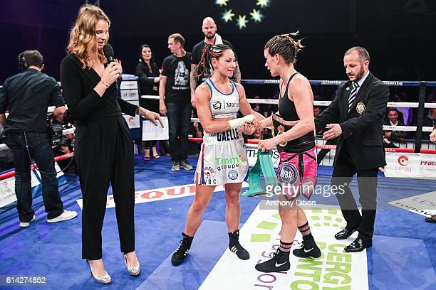 France Pierron Gaelle Amand of France and Jelena Mrdjenovich of Canada during their featherweights bout for WBA and WBC title world championship on...