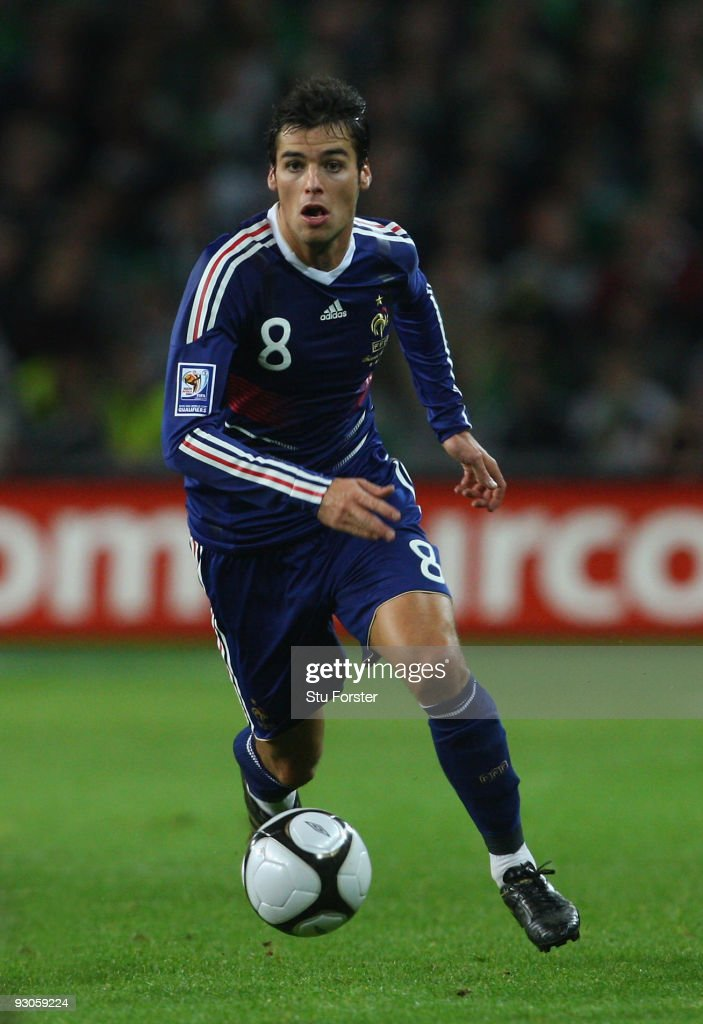 France player <a gi-track='captionPersonalityLinkClicked' href=/galleries/search?phrase=Yoann+Gourcuff&family=editorial&specificpeople=600434 ng-click='$event.stopPropagation()'>Yoann Gourcuff</a> in action during the FIFA 2010 World Cup Qualifier play off first leg between Republic of Ireland and France at Croke Park on November 14, 2009 in Dublin, Ireland.