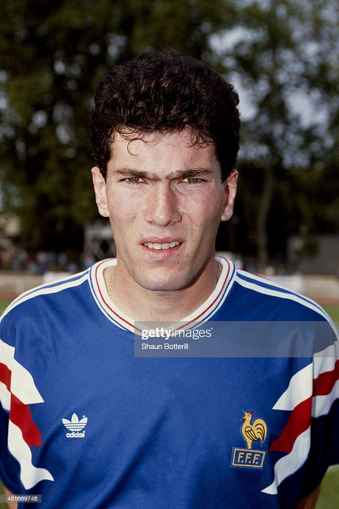 France player <a gi-track='captionPersonalityLinkClicked' href=/galleries/search?phrase=Zinedine+Zidane&family=editorial&specificpeople=172012 ng-click='$event.stopPropagation()'>Zinedine Zidane</a> poses for a picture before an Under-21 International match between France and Scotland on May 30, 1991 in Toulon, France.