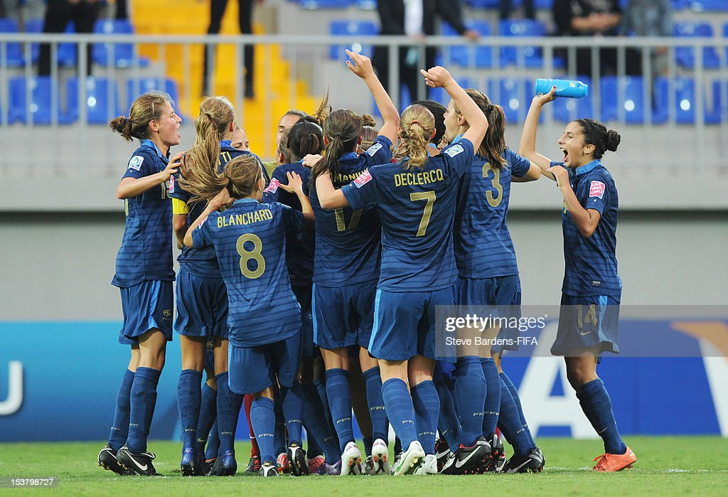 France players celebrate victory at the final whistle of the FIFA U-17 Women's World Cup 2012 Semi-Final match between France and Ghana at 8KM Stadium on October 9, 2012 in Baku, Azerbaijan.