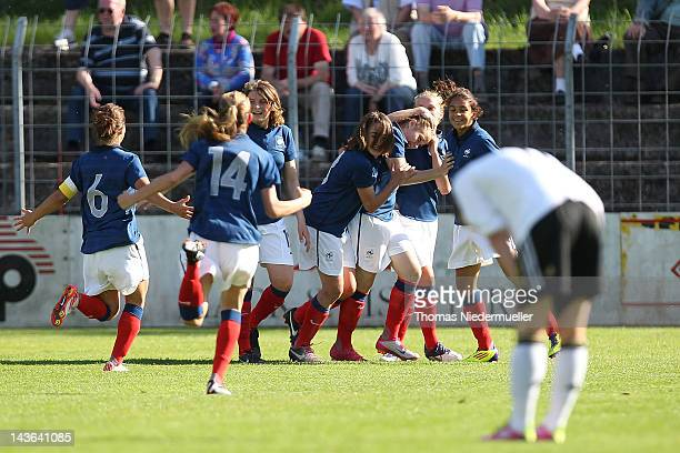 France players celebrates the goal of Sabrina Barbe of France during the Girl's International Friendly Under 16 match between Germany and France at...