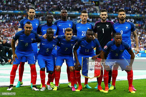 France players line up for the team photos prior to the UEFA Euro 2016 Group A match between France and Romania at Stade de France on June 10 2016 in...