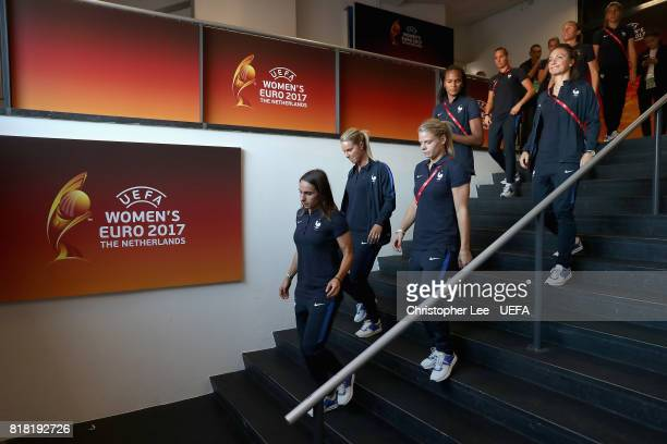 France players walk out onto the pitch as they arrive during the UEFA Women's Euro 2017 Group C match between France and Iceland at Koning Willem II...