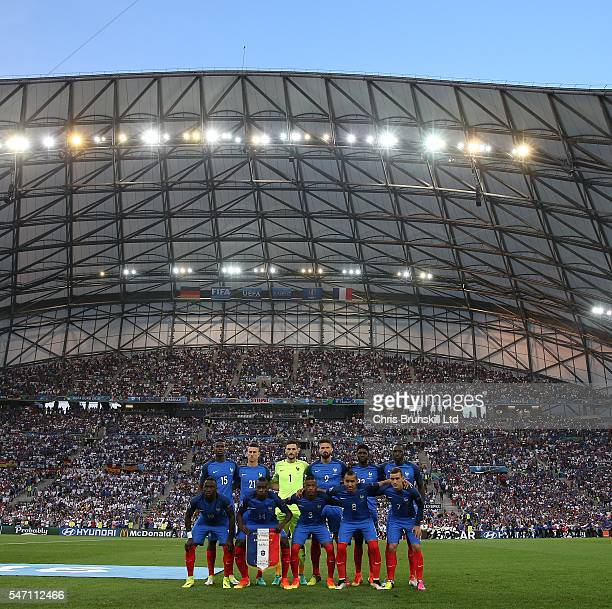 France pose for a team photograph ahead of the UEFA Euro 2016 Semi Final match between Germany and France at Stade Velodrome on July 07 2016 in...