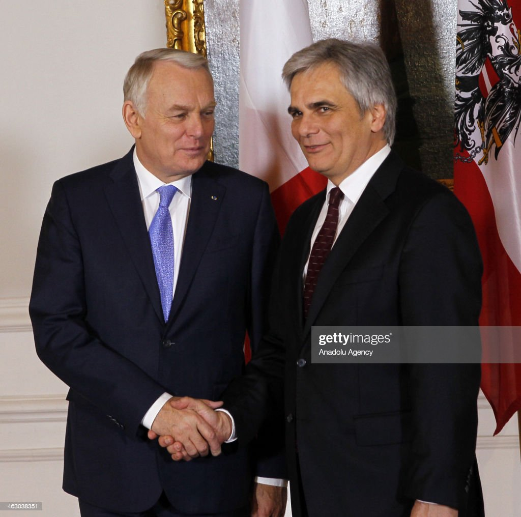 France Prime Minister JeanMarc Ayrault and Austria Prime Minister Werner Faymann shake hands during the press conference in Wien Austria on January...