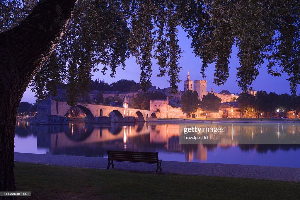 France, Provence, Avignon, Palais des Papes and Pont Saint-Benezet