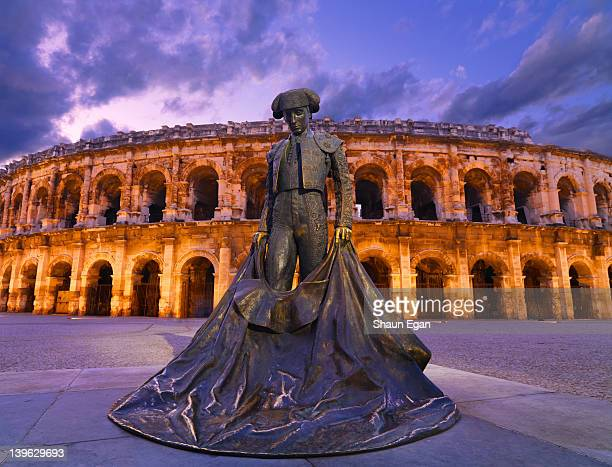 France, Provence, Nimes, Roman arena at dusk