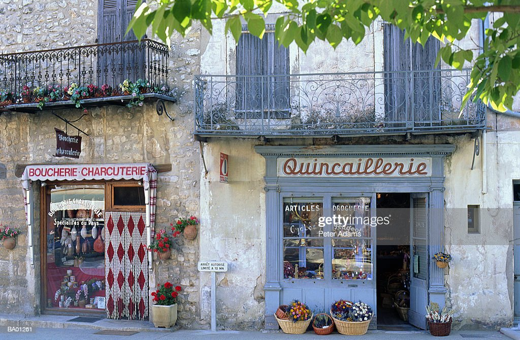 France, Provence, row of shop exteriors : Stock Photo